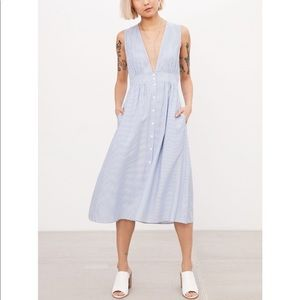 Urban Outfitters Plunging Button Down Midi Dress